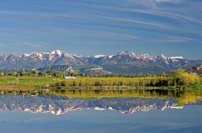 La Plata Mtn. Reflection in Pastorius Reservoir, Spring snow still caps the mountains
