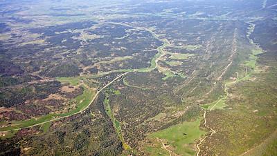 Aerial view of Pictured Cliffs Outcrop, Hwy 160 Northweastern San Juan Basin margin
