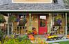 Architecture and fall decor in Snowmass Village, Colorado, USA, America.