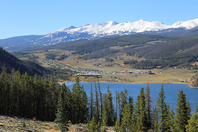 Blue River Arm of the Dillon Reservoir, with the Breckenridge ski area in the far distance, from Sapphire Point