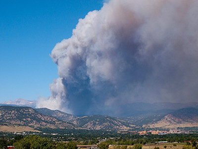 Four Mile Canyon fire west of Boulder.  170 homes were destroyed.  The University of Colorado is visible in the lower right hand corner of the photo.