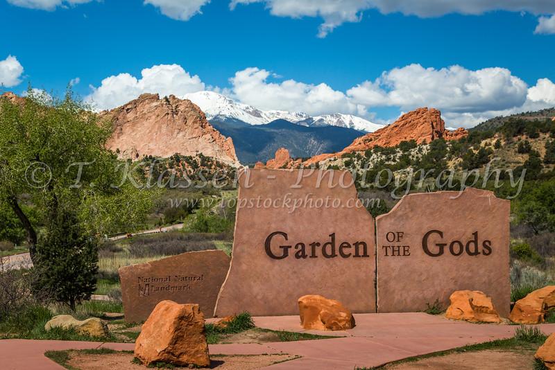 The Garden of the Gods, a National Natural Landmark sign near Colorado Springs, Colorado, USA.