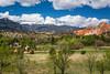 The Garden of the Gods, a National Natural Landmark and snow-capped Pike's Peak near Colorado Springs, Colorado, USA.