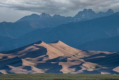 usa, colorado, great sand dunes np, high dune, sangre de cristo mountains