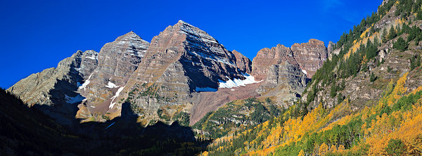 Maroon Bells panorama from Maroon Lake 3 image stitch