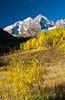 Maroon Bells mountain with fall foliage color, Colorado, USA, America.