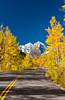 Maroon Bells mountain and roadway with fall foliage color, Colorado, USA, America.