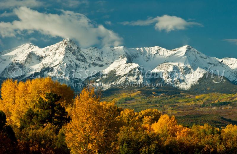 Fall foliage with Mount Sneffels at Dallas Divide, Colorado, USA, America.