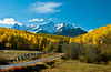 The snow capped peak of Mount Sneffels and the San Juan Mountains of Colorado, USA, America.