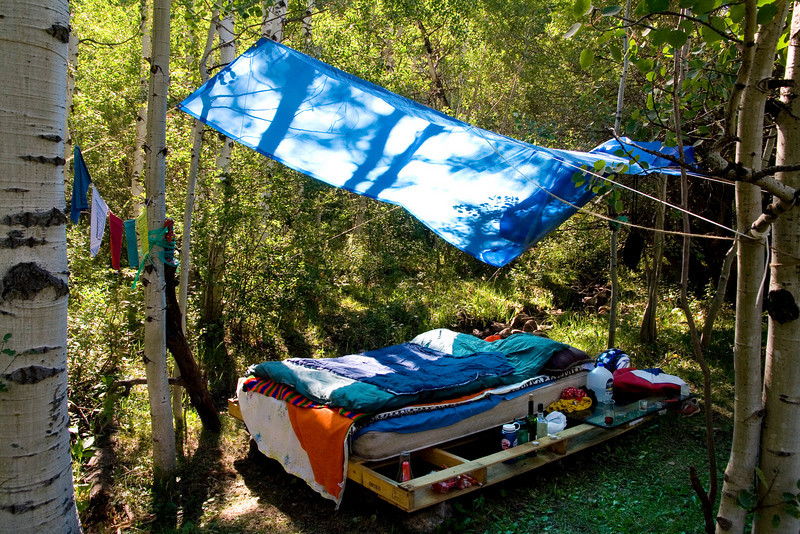 This is my camp set up.  No bugs, no poisonous snakes, no humidity, no ticks. . . only bears and mountain lions.