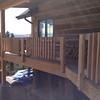 Deck railing being installed.