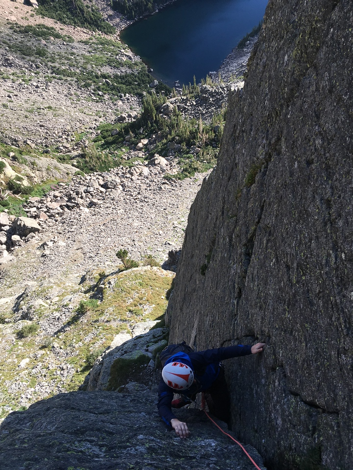 Climber on The Great Dihedral, Hallet Peak