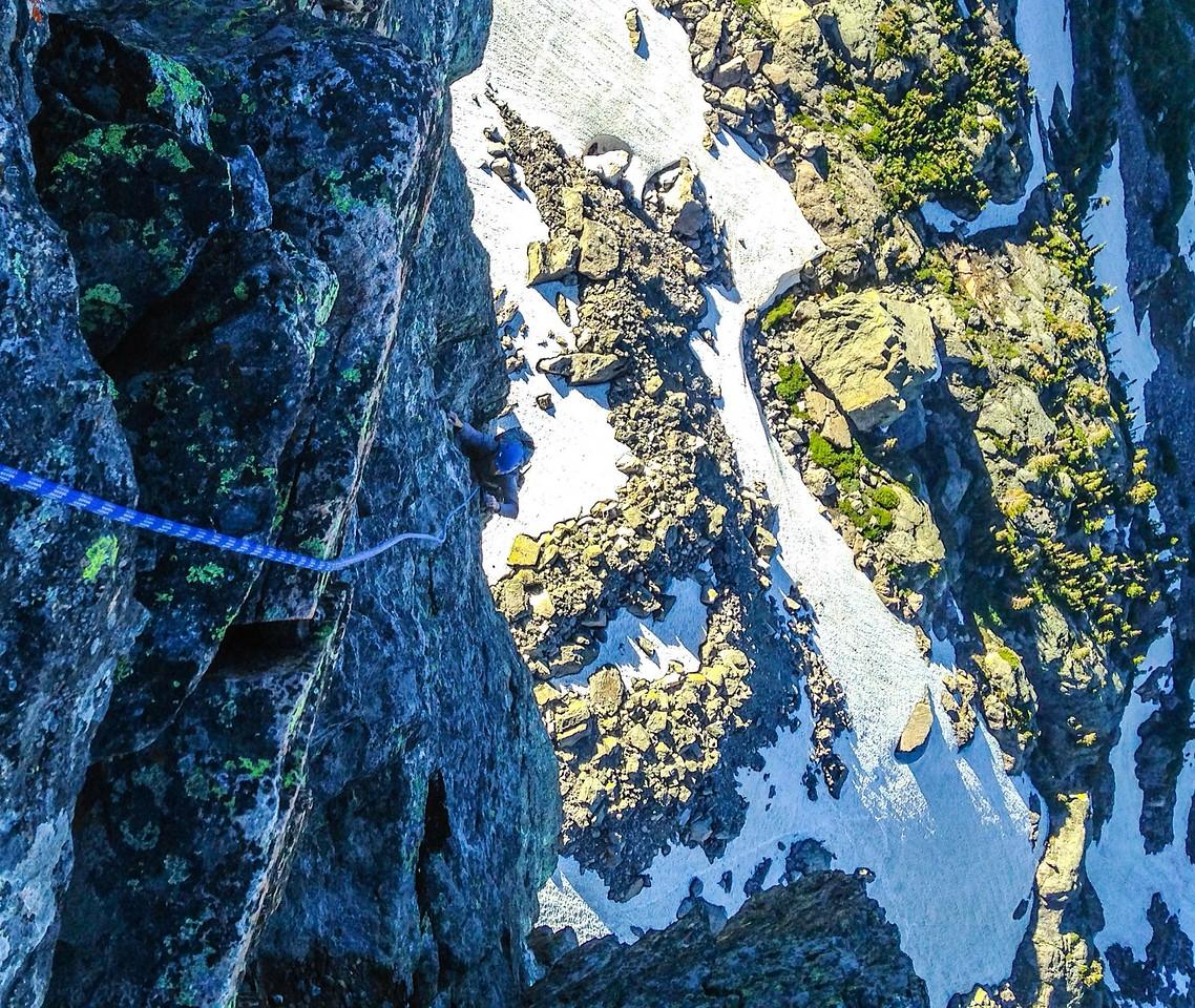 Climber on Culp-Bossier route, Hallett Peak