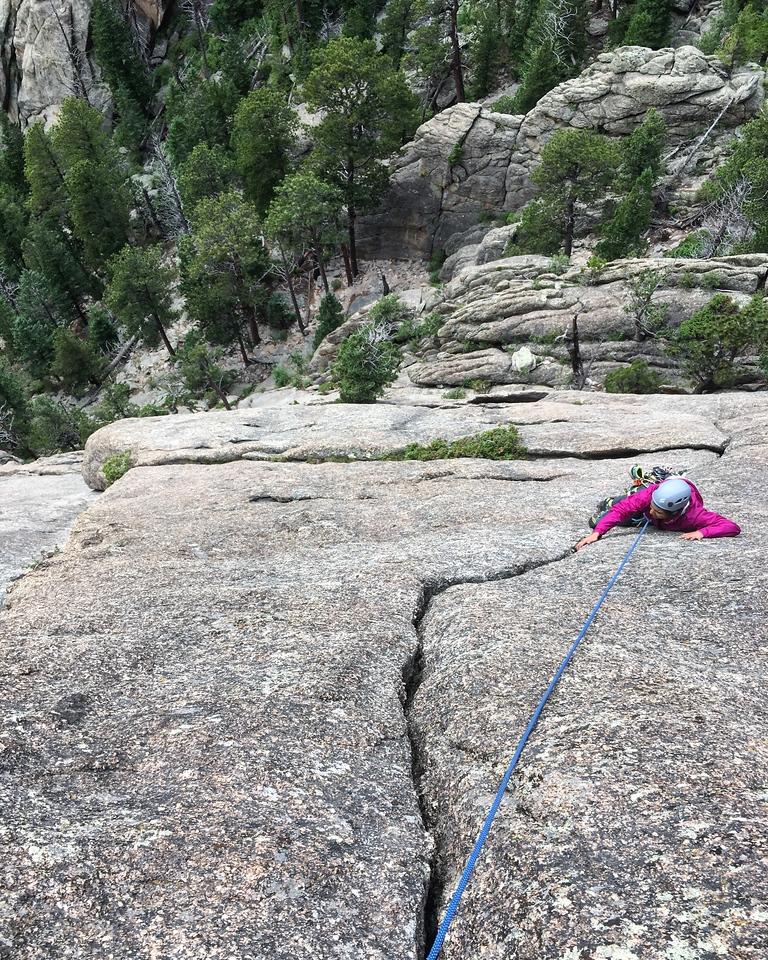 Climber on Zindango in Lumpy Ridge