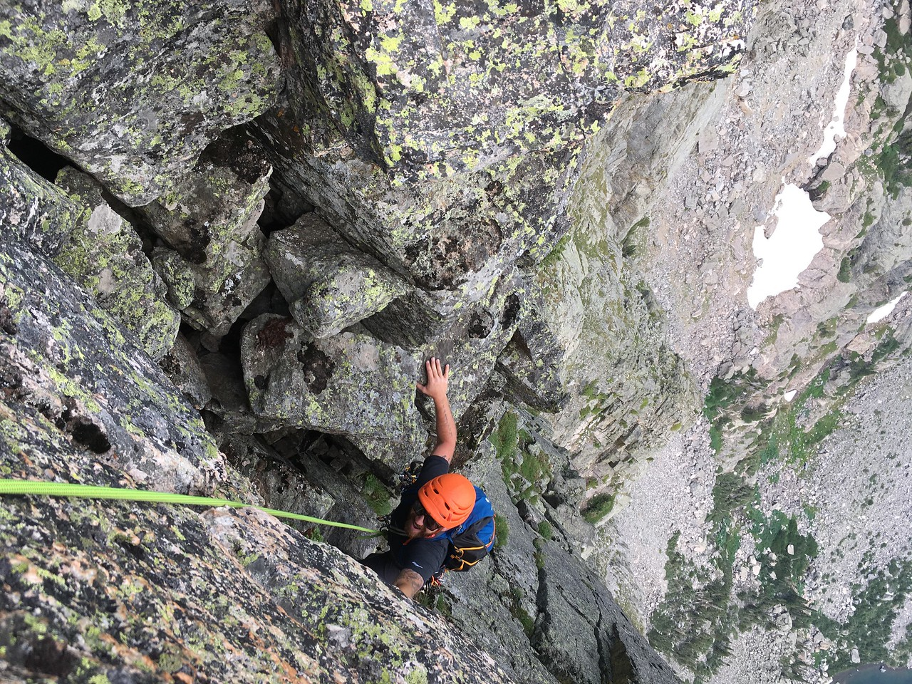 Climber on North Face of Hallet Peak