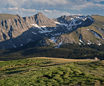 View acroos Forest Canyon into glacially carved hanging valley below Terra Tomah Mountain from Trail Ridge Road  3 vertical image stitch