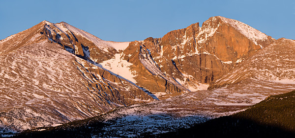 Longs Peak & Mount Meeker - morning light from Twin Sisters trail - May, 2007 16 images stitched in 2 rows - 400mm lens