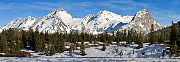 Needle Mountains from Molas Lake - May 2005  Euolas, Windom and Sunlight peaks are all fourteeners 3 image stitch