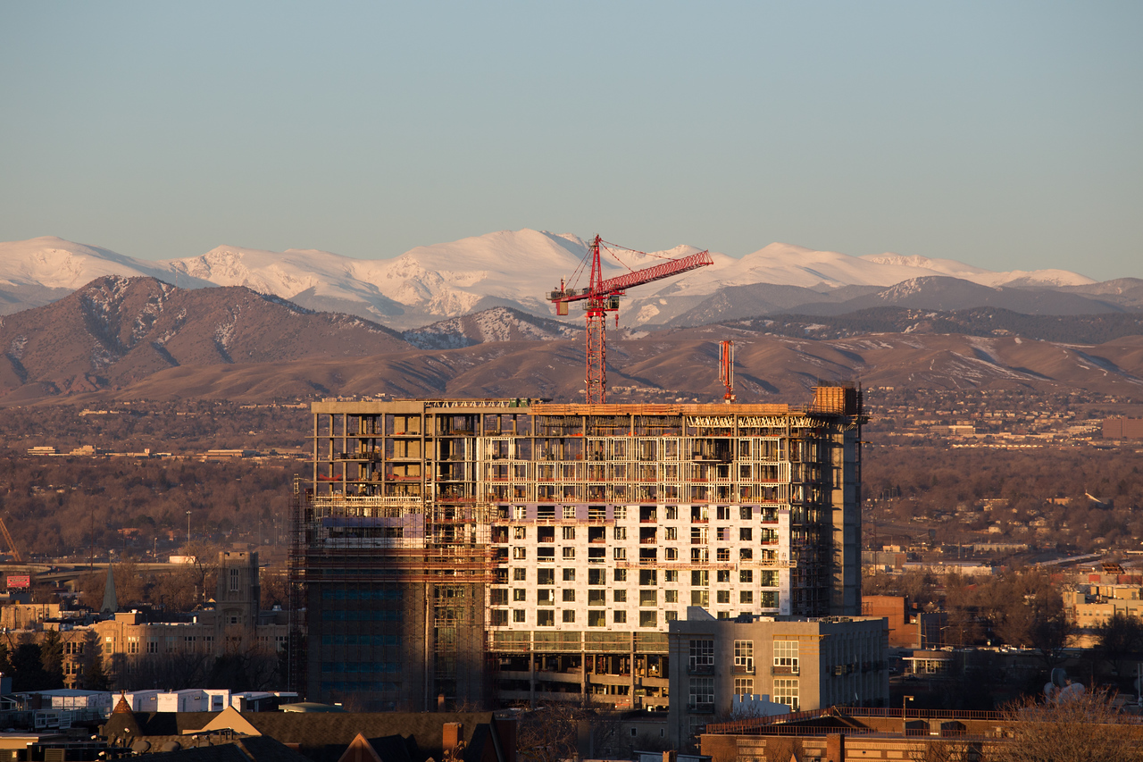 The view of Mt. Evans from Joe and Liz's balcony may not last much longer...