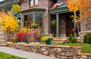 Condos with fall foliage color in Telluride, Colorado, USA, America.
