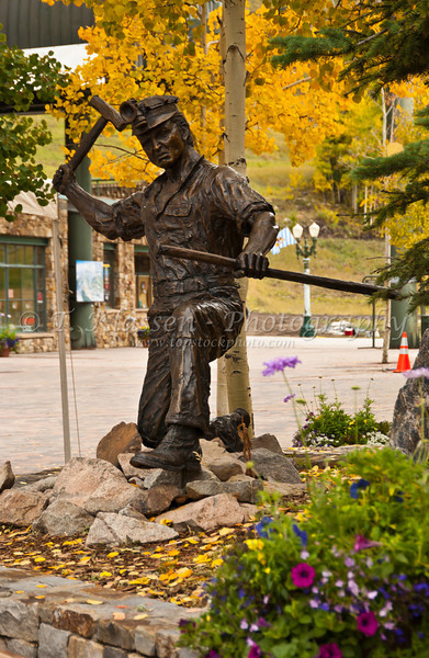 A mining monument in Mountain Village above Telluride, Colorado, USA, America.