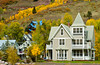 Condos with fall foliage color in Telluride, Colorado, USA, America.