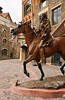 An indian horse and rider in the shopping square in Mountain Village above Telluride, Colorado, USA, America.