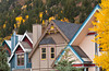 Architecture of homes and condos in Telluride, Colorado, USA, America.