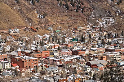 Downtown Telluride from ski trail