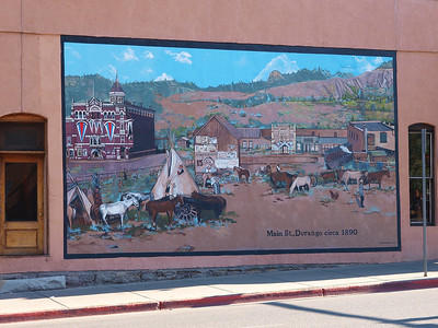 Wall mural on Main Street in Durango, Colorado.  Depicting a scene from 1890.