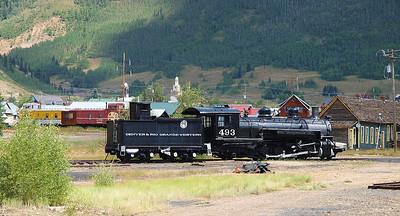 Locomotive #493 on display in Silverton, Colorado.