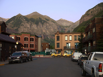 View from a Telluride street at dusk.