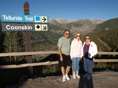 The first stop off of the Gondola.  Telluride is down below in the background.  Ron, Jan & Robin.