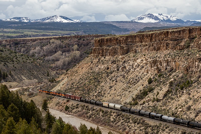 The Colorado River and a freight train near Bond, Colorado, on April 26, 2019. Photo by Mitch Tobin/The Water Desk
