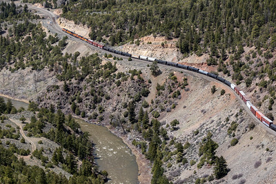 The Colorado River and a freight train near Radium, Colorado, on April 26, 2019. Photo by Mitch Tobin/The Water Desk