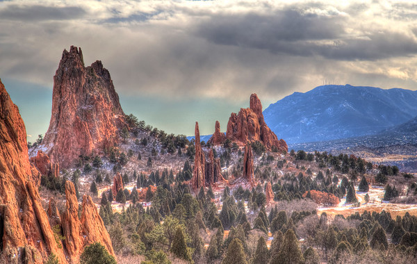 Pinnacles rise out from the landscape in the Garden of the Gods, near Colorado Springs.