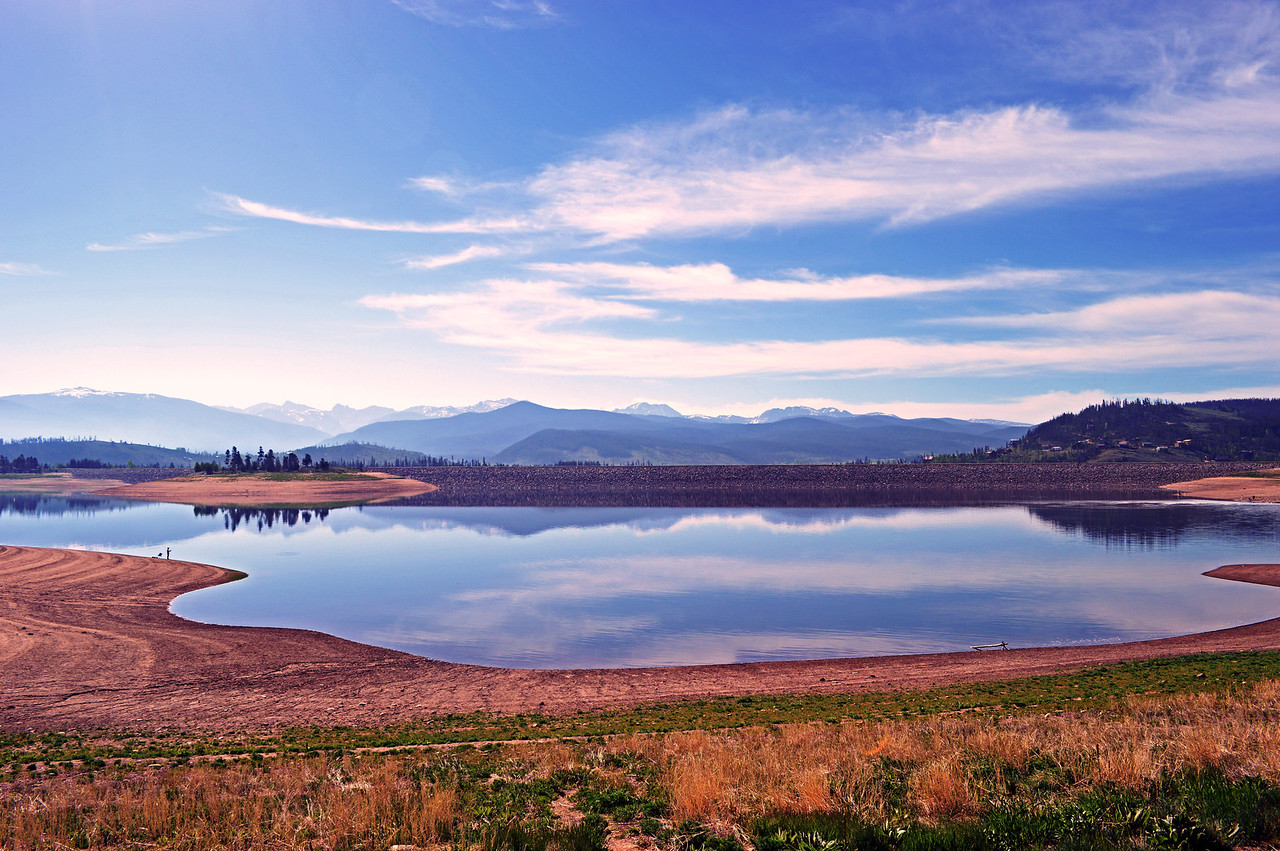 Lake Granby and reflections of the Rocky Mountain National Park's peaks, Colorado