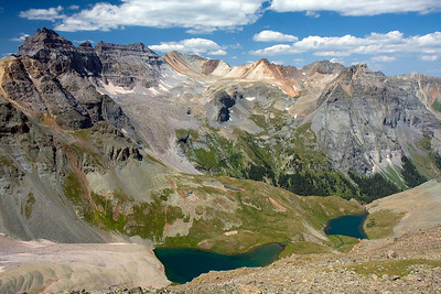 Taken from Blue Lake Pass, which was 2.5 miles from our campsite. From the pass, you can see Upper and Middle Blue Lake. Dallas Peak and some of the more remote mountains of the Sneffels Wilderness Area can be seen beyond.