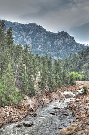 The St. Vrain Creek descends through the canyon along Colorado's State Highway 7.