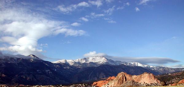 Pikes Peak Range and Garden of the Gods