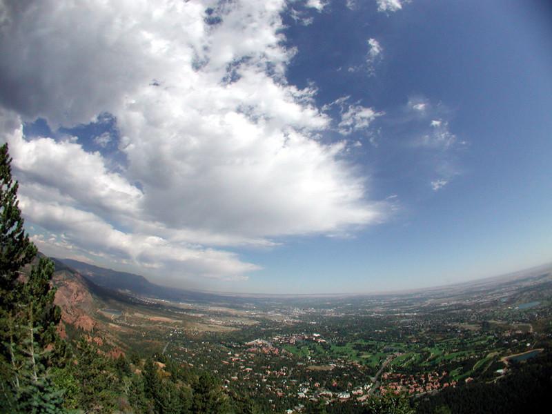 Colorado Springs from Will Rogers Shrine (fisheye lense)