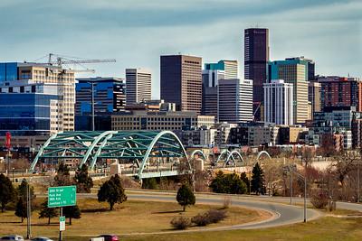 Denver skyline from W 26th Ave & Zuni St