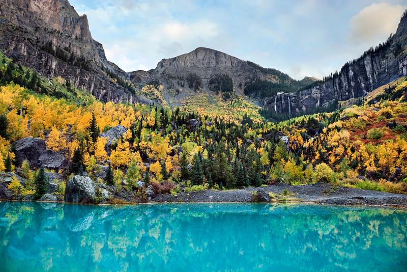 Fall foliage and waterfall in Telluride, Colorado
