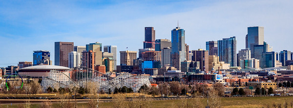 Denver skyline from Mile High Stadium
