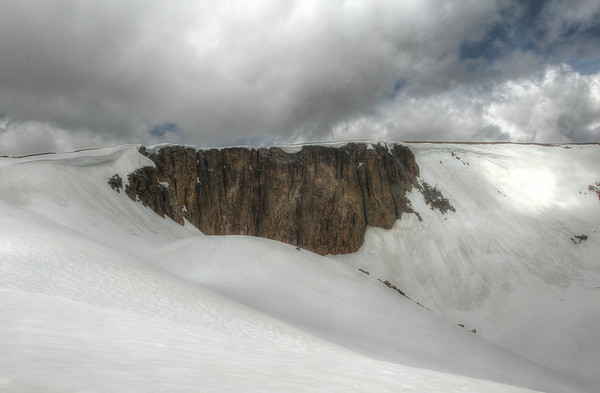 Cliffs formed from Lava along Trail Ridge Road in Colorado