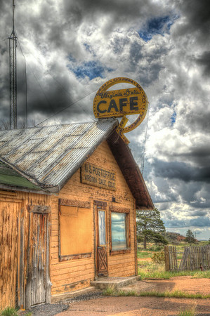 Virginia Dale, once a famous stop for the overland trail is now all but closed up and shuttered. The cafe and post office now only cater to the passing photographer.