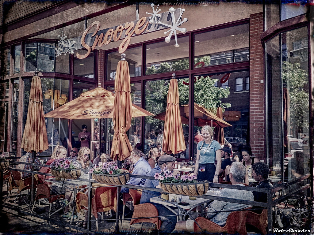 Texturized preset assplied to this street scene on an  early Saturday morning at Snooze: An A.M. Eatery in Boulder, Colorado. Raw conversion in Phase One Capture One Pro 9. Post processing in ON1 Photo 10 (Photomorphis texture preset) and Zoner Photo Studio 18.