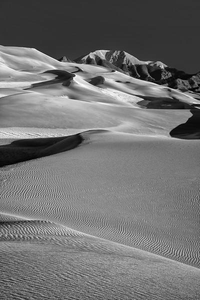 Black and White Rippled Sand Dunes