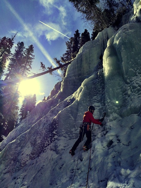 AAI Guide Z.Lovell leading at Ouray. Cropped