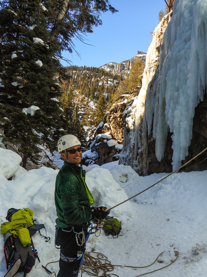 Patrick belaying in the Ouray Ice Park.